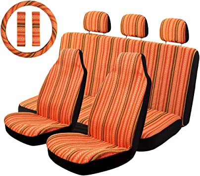 Universal Car Seat Covers Mesh Breathable Orange Steering Wheel Seat Belt Cover