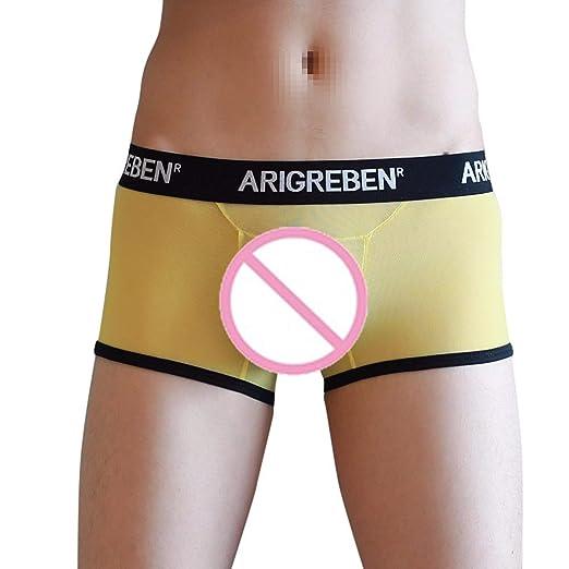 362670cb6bb4 Men Sexy Trunks Underwear Boxer Briefs Bulge Pouch Translucent Underpants  Shorts Zulmaliu (Yellow, XL