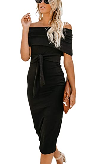 b58c7f2404e Angashion Womens Sexy Off Shoulder Long Sleeve Bodycon Midi Knit Cocktail  Evening Sweater Dress with Belt