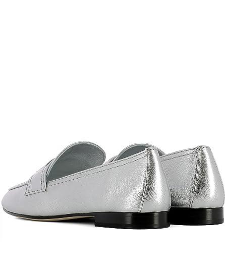 Prada - Mocasines de Otra Piel para Mujer Plateado Plata, Color Plateado, Talla 35 EU: Amazon.es: Zapatos y complementos