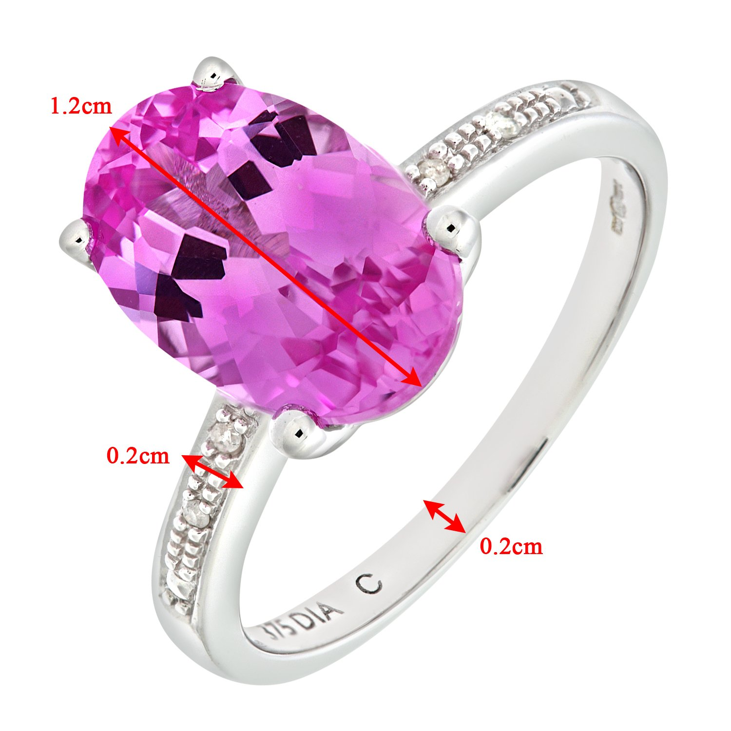 Naava Women\'s 9 ct White Gold Single Stone Pink Sapphire with ...