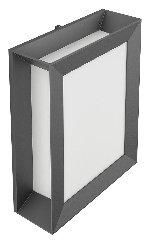 Anthrazit Wandleuchte ohne Bewegungsmelder Philips Karp LED-Außenleuchte, Wandleuchte, Anthrazit, Licht weiß, Kunststoff, Lumière Weiß chaud 6 wattsW