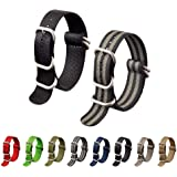 Ritche 2PC Watch Band with 1.5mm Thickness Quality Nylon Nato Strap and Heavy Duty Brushed Buckle