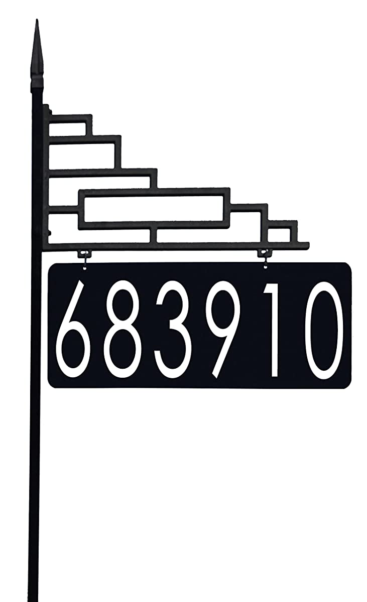 """Extra Large Contemporary Reflective 911 Yard Address Sign - 6"""" Numbers on Both Sides, 60"""" Post"""