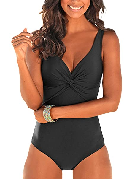 a5abb92837 Zando One Piece Plus Size Women Bathing Suits Vintage Monokinis Solid Color  Classic Swimsuit Bikini Beach