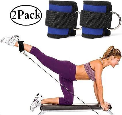 2pcs deporte ajustable tobillo pesas gimnasio tobillo D-ring correa para levantamiento de pesas pierna gimnasio entrenamiento azul