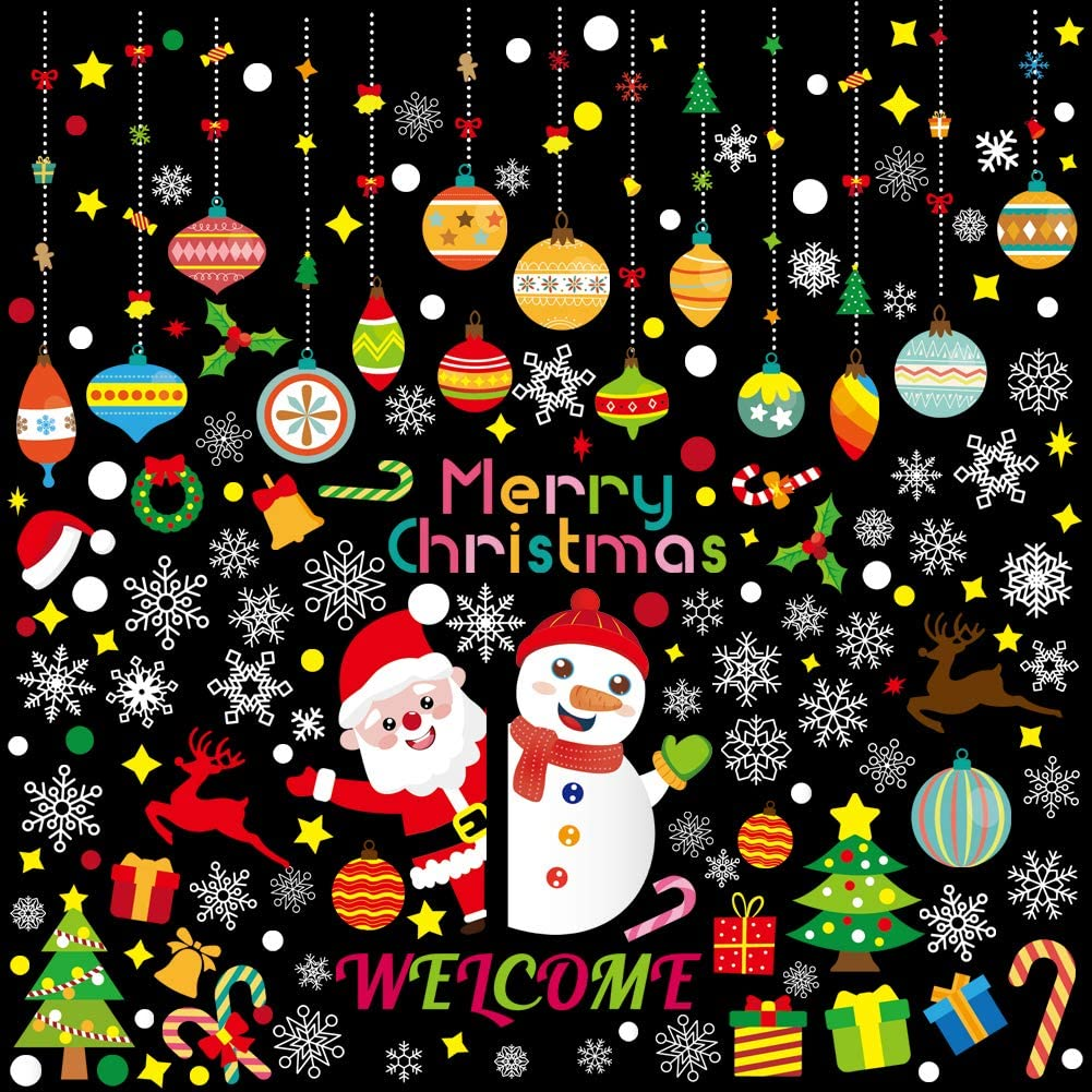 182 PCS Christmas Window Clings Santa Claus Snowman Decals Holiday Window Clings for Glass Windows Christmas Party Decorations