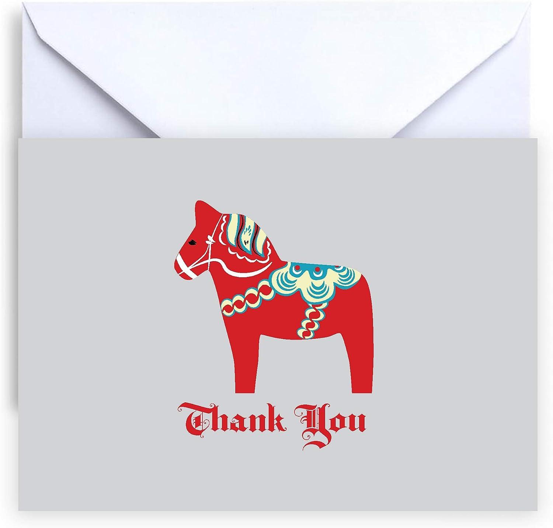 Swedish Dala Horse Note cards Box of 12 White Envelopes