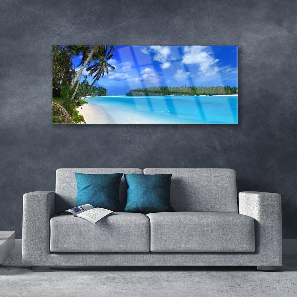 Paysage Palmes Plage Mer Du Sud Image Tableau Photo d/écorative panoramique Impression sous Plexiglas/® // verre acrylique de Tulup 125x50 cm