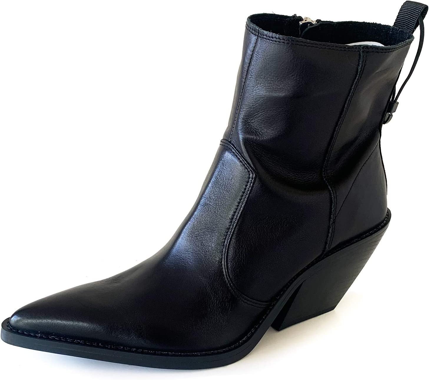 Soft Leather Cowboy-Heel Ankle Boots