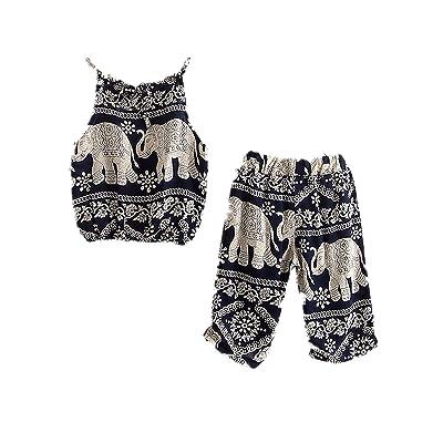 Winzik Kids Baby Girls Outfits Boho Big and Small Elephant Pattern Camisole + Pants Beachwear Clothes Set