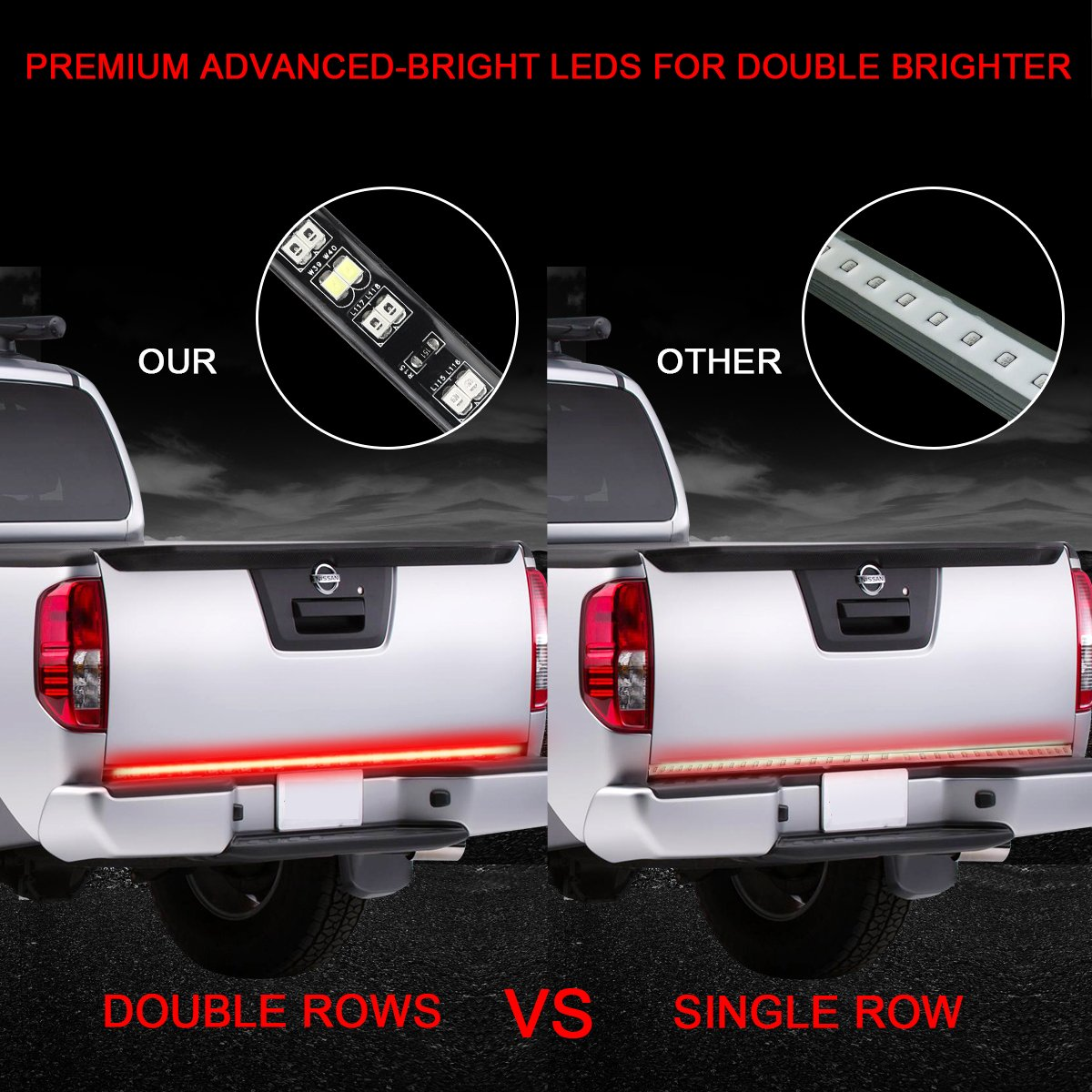 LPENG 60 double Rows LED Truck Tailgate Light Bar Strip Red//White Reverse Brake Stop Turn Signal Parking Running/Weatherproof No-Drill Installation Universal truck car SUV