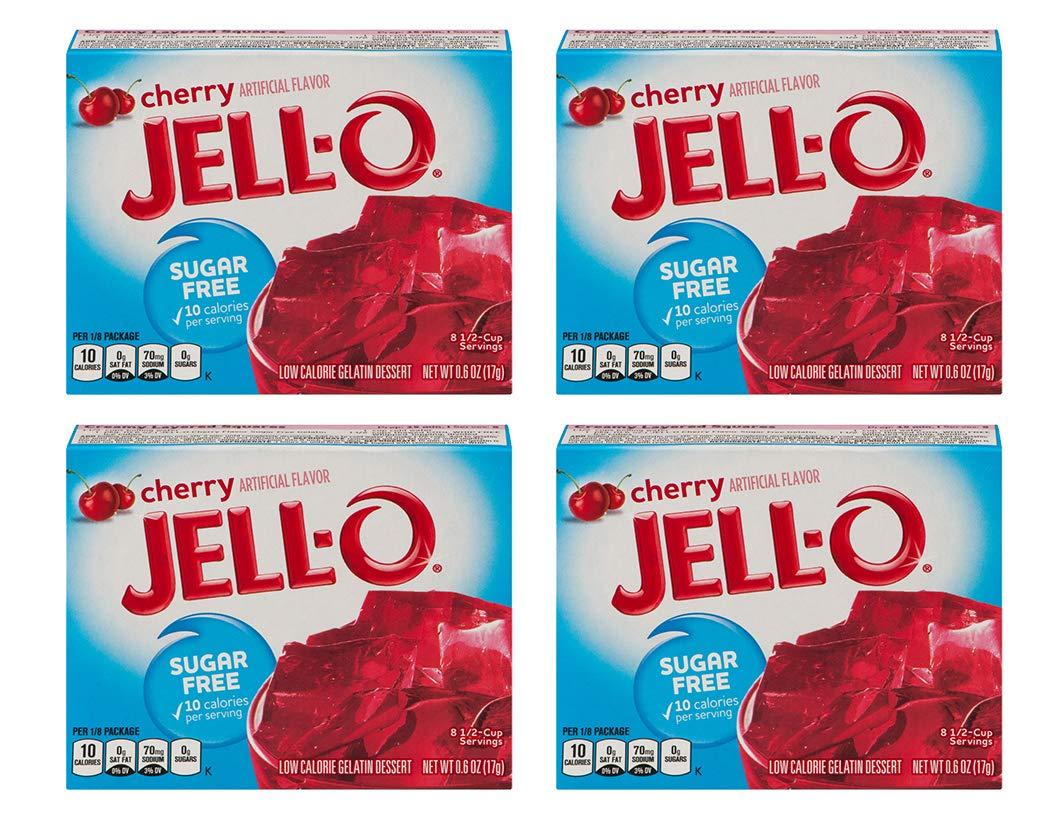 Jell-O Cherry Flavor Sugar Free Gelatin 0.6 oz (4 Pack)