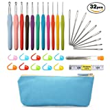 ARTISTORE Crochet Hooks Set 32pcs Knitting Accessories Tools Set Kit with Case, 11pcs Ergonomic Crochet Hooks, 1pcs 60-Inch Tape Measure, 9 Steel Blunt Crochet Needles and 10pcs Stitch Markers, Perfect Gift for Crochet Lovers