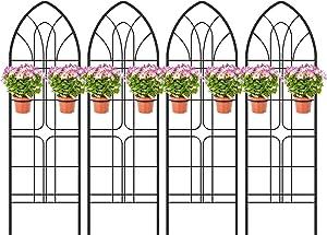 "Amagabeli Garden Trellis 72"" x21"" x 4 Pack Heavy Duty Rustproof Iron Metal Trellis for Potted Plants Support Trellis for Climbing Plants"