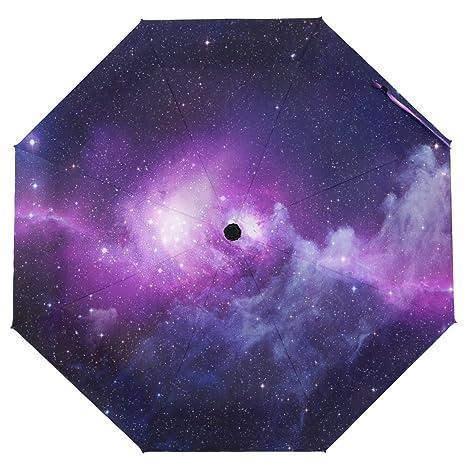 ac2afe4530e7 Amazon.com : Cooper girl Purple Galaxy Nebula Umbrella Sun Rain ...
