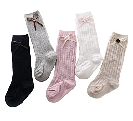 90ac363e371 5 Pack Solid Color Baby Toddler Girls Cable Knit Button Bowknot Knee High  Stockings Cotton Socks