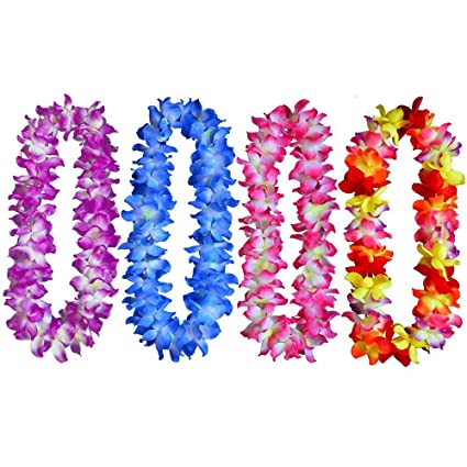 Amazon yansanido 41 pack of 4 large size fully hawaiian yansanido 41 pack of 4 large size fully hawaiian ruffled simulated silk flower leis mightylinksfo