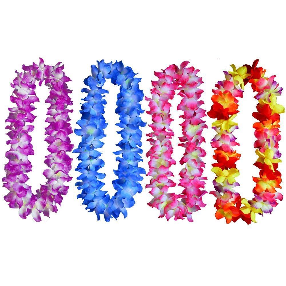 Amazon kinteshun hawaii luau leis hula garland imitation flower yansanido 41 pack of 4 large size fully hawaiian ruffled simulated silk flower leis izmirmasajfo