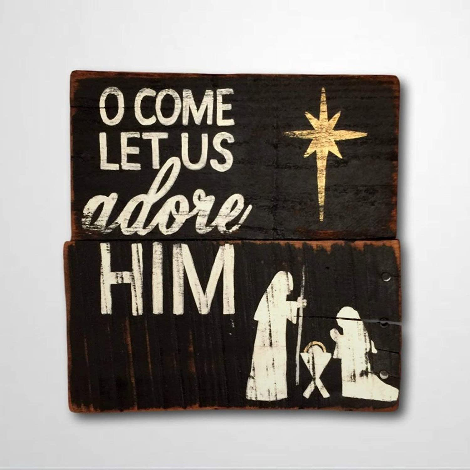 DONL9BAUER Wood Sign O Come Let Us Adore Him Christmas Wall Hanging Religious Christmas Decor Rustic Christmas Sign for Mantel Sign Home Decor Indoor Outdoor