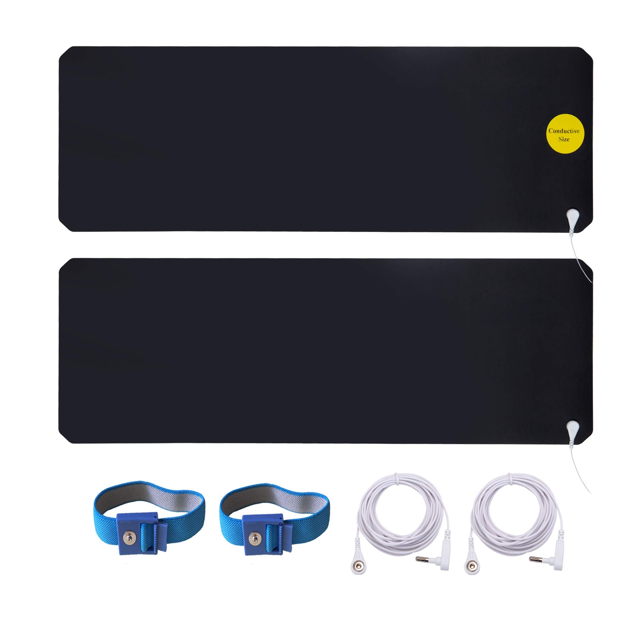 LandKissing Grounding Mats Kit (2sets) for Healthy Earth Energy with 2 Grounding Wrist Band and 2 Straight Cords