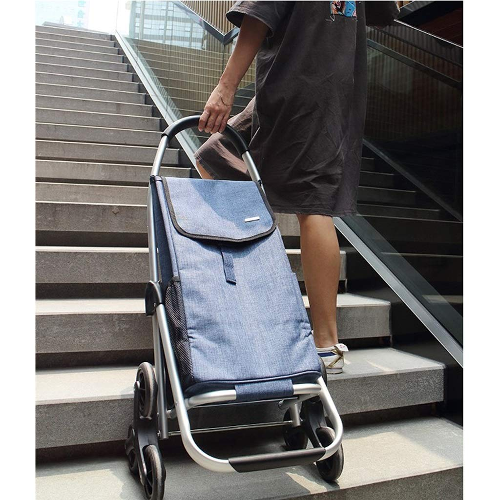Xilinshop Portable Utility Carts Aluminum Alloy Shopping Cart Folding Portable Shopping Cart Home Grocery Shopping Cart ( Color : E )