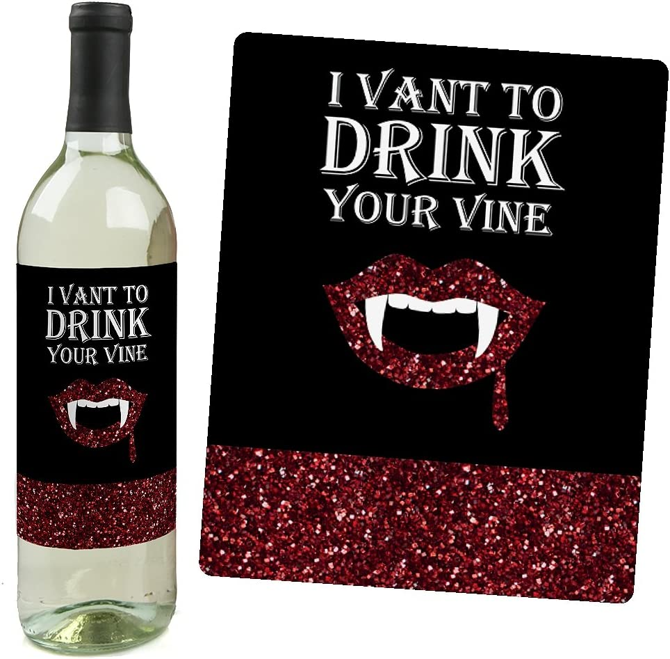 Set of 4 Wine Bottle Label Stickers Spooktacular Eat Drink and Be Scary Halloween Party Decorations for Women and Men