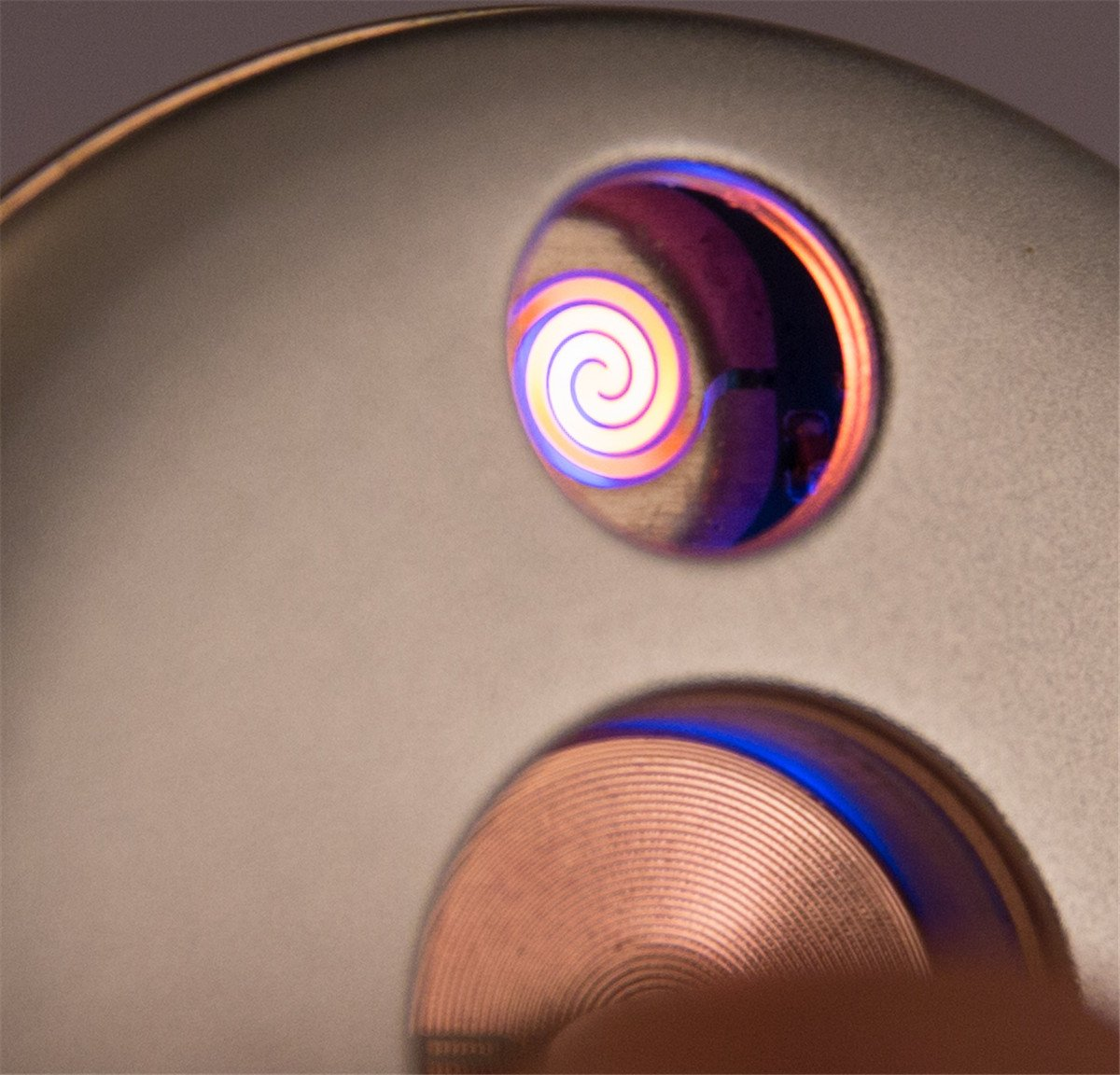 Rechargeable Coil Lighter Electric USB Lighters Round UFO Plate Windproof Pocket Lighter Rose Gold by Primo (Image #3)