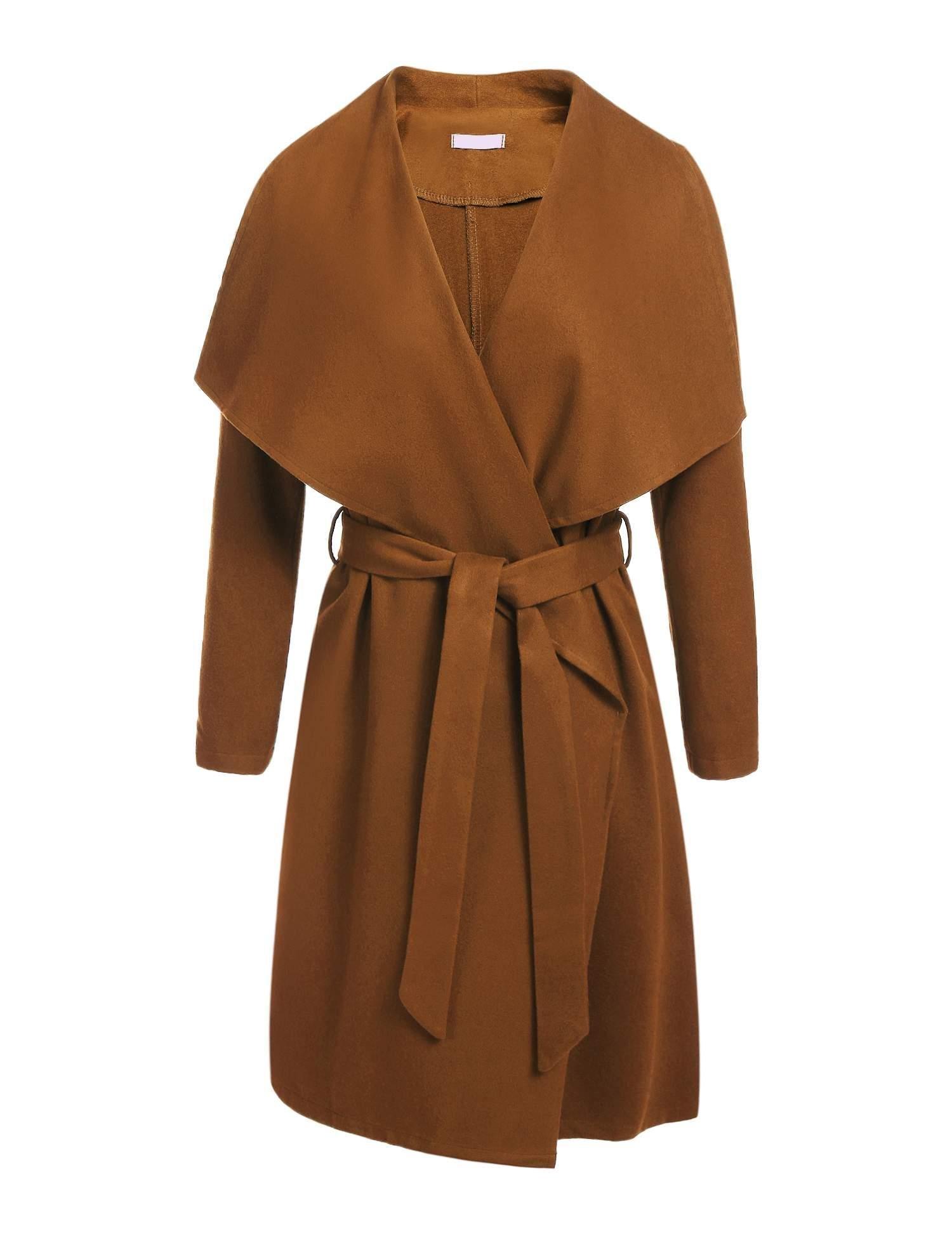 Zeagoo Women's Lapel Long Trench Coat Wool Blended Jacket Outwear Cardigan