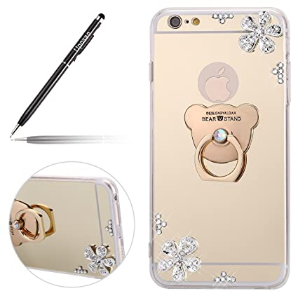 Uposao Espejo Funda iPhone 6 Plus,Carcasa iPhone 6S Plus Espejo Bling Giltter Brillo Purpurina con Anillo Soporte Oso, Carcasa Ultra Hybrid Funda ...