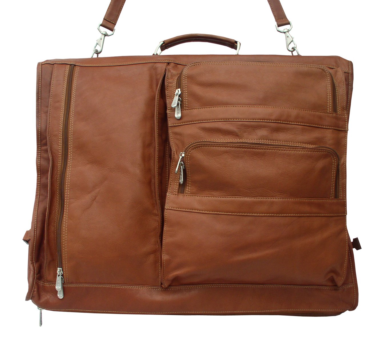 Piel Leather Traveler Executive Expandable Garment Bag in Saddle by Piel Leather