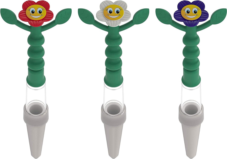 Terama Heidi Indicador de riego, 3 piezas, no necesita batería, la figura se dobla cuando la tierra se seca, con cara