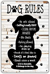 QIONGQI Funny This Home is Filled with Kisses Wagging Tail Love Metal Tin Sign Wall Decor Rustic Farmhouse Dog Signs with Sayings for Home Decor Gifts for Dog Lovers
