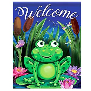 Night Green Frog Welcome Funny Small Mini Garden Yard Flag 12.5