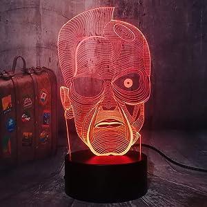Bri-moryea The Terminator 3D LED Night Light Home Decor Kids Remote Control Desk Lamp Holiday Decoration Light Fans Gift Birthday New Year Present(Terminator)