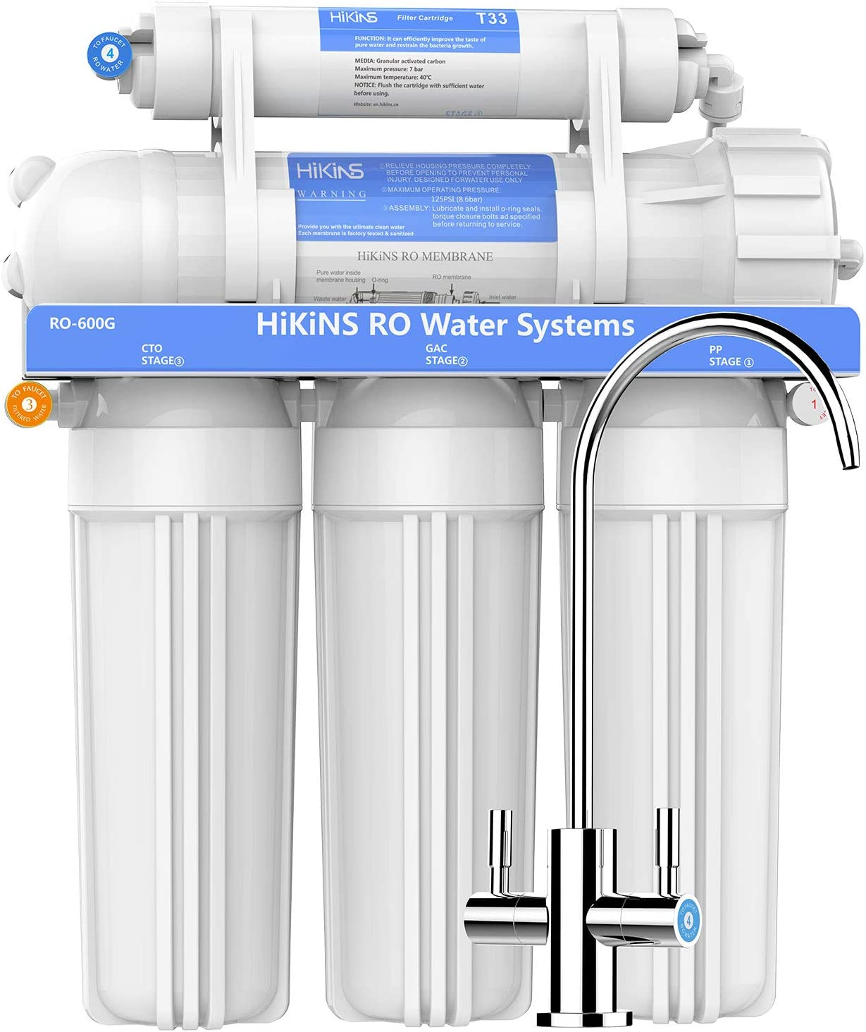 HiKiNS Sistema de filtración de Agua de ósmosis inversa RO-600G ...