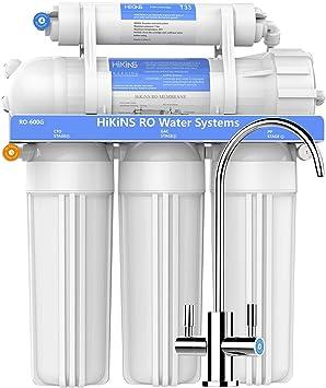 HiKiNS Sistema de filtración de Agua de ósmosis inversa RO-600G Sistema de 5 etapas para Beber en casa con Gran Flujo de Membrana de 600 GPD y Ahorro de Agua: Amazon ...