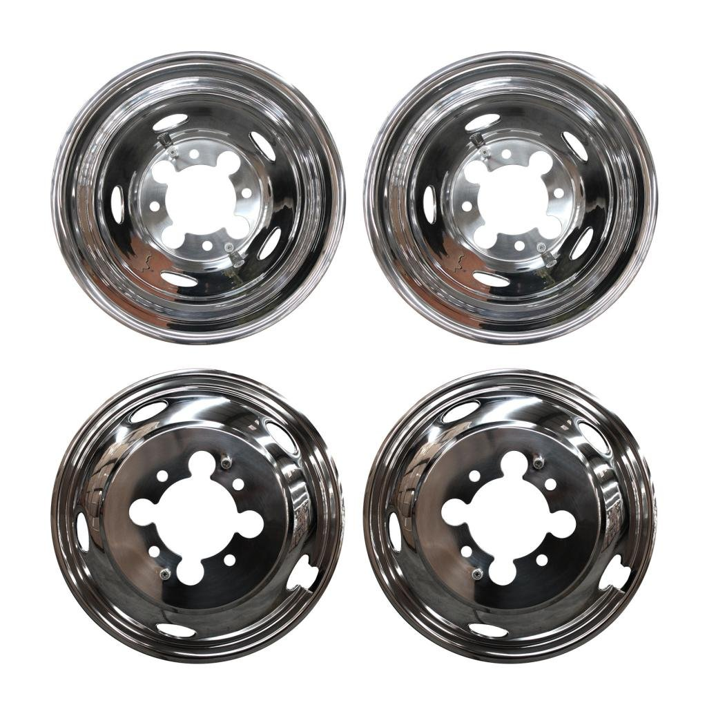 DOBI 4pcs Front+Rear Polished Stainless Steel 17'' Dually 8-Lug 5-Hand Hole Wheel Simulators Hub Caps Skins Liners Covers R17 w/ Removable Centre Caps For 03-14 Dodge Ram 3500 Dually with 17'' 8-Lug 5-Hand Hole Wheels