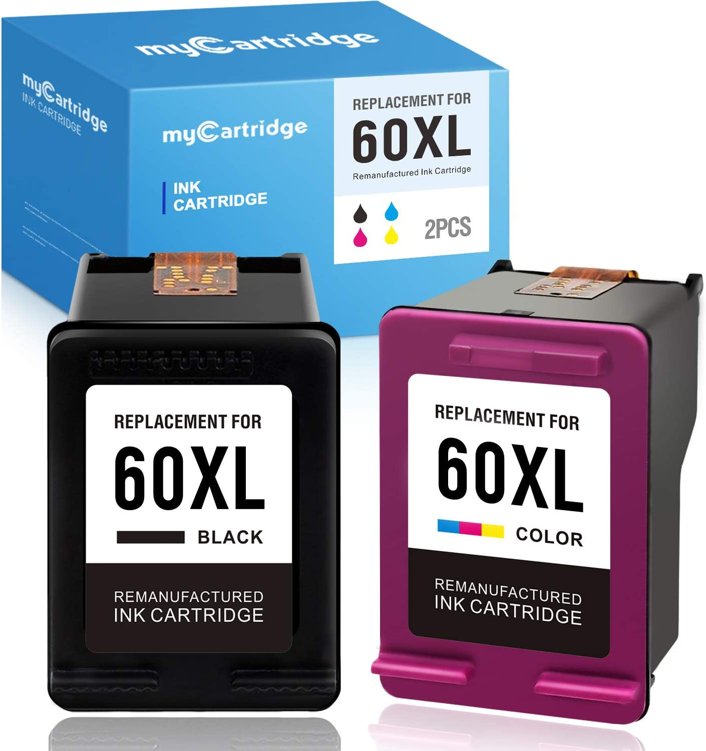 myCartridge Remanufactured Ink Cartridge Replacement for HP 60 60XL CC641WN CC644WN Fit Deskjet D1660 D2530 Envy 100 110 120 (1 Black 1 Tri-Color, 2-Pack)