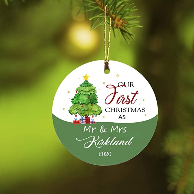 Amazon Com First Christmas Mr Mrs Ornament 2020 Kirkland Christmas Gift Ideas For Couples Gifts For Him And Her Ceramic Christmas Ornament Decorations Rustic 1st Year Married 3 Flat Circle Kitchen