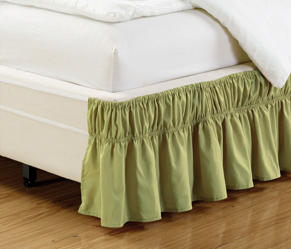 """Wrap Around 15"""" inch Fall SAGE Green Ruffled Elastic Solid Bed Skirt Fits All Queen, King and Cal King Size Bedding High Thread Count Microfiber Dust Ruffle, Soft & Wrinkle Free."""