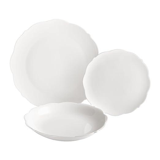 Dajar Grace - Vajilla DE 18 Piezas Ambition, Porcelana, Blanco, 29 x 27 x 29 cm, - Unidades: Amazon.es: Hogar