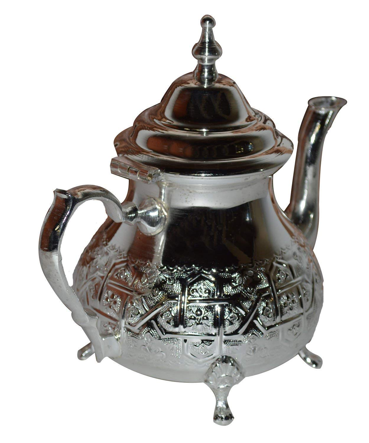 Silver Plated Moroccan Teapot Tea Serving - Hand Made