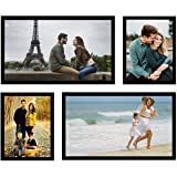 Swadesi Stuff Wood Wall Hanging Collage Photo Frames - Set of 4 (Black)