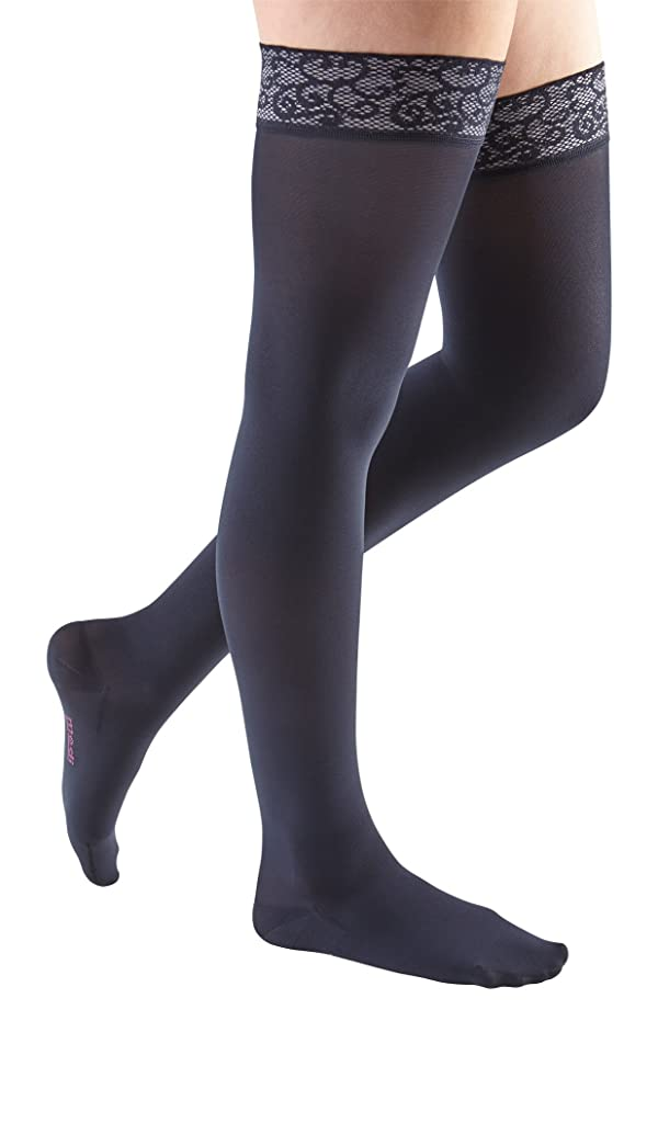 mediven Comfort, 20-30 mmHg, Thigh High Compression Stockings w/Lace Top-Band, Closed Toe (Color: Navy, Tamaño: IV - Petite)