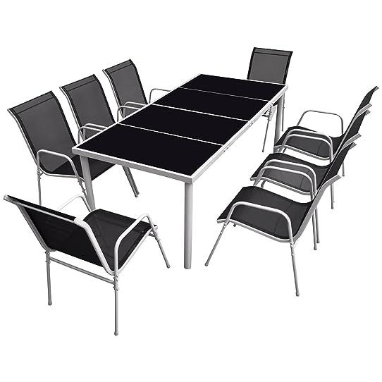 Salon de jardin BALI en textilène noir 8 places - structure grise ...