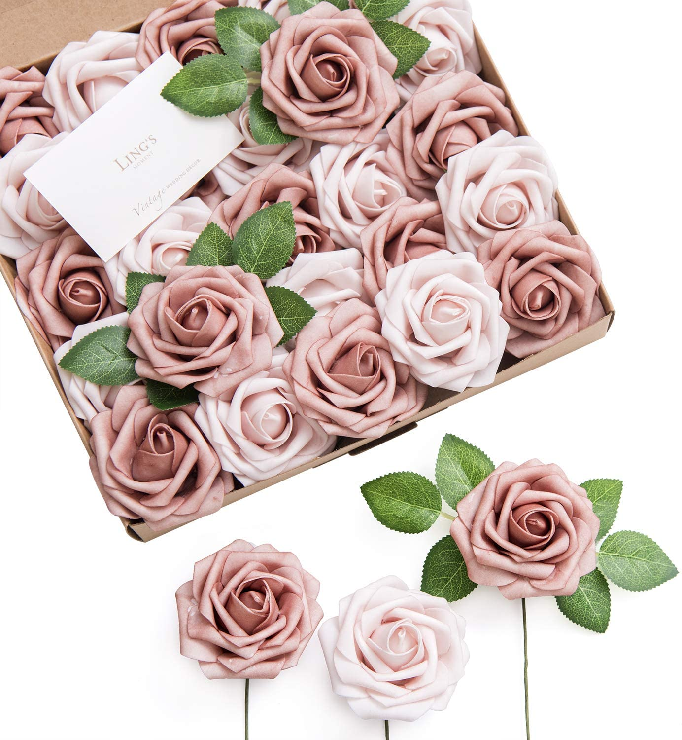 Ling's moment Artificial Flowers Warm Taupe & Nude Roses 25pcs Real Looking Fake Roses w/Stem for DIY Wedding Bouquets Centerpieces Arrangements Party Baby Shower Home Decorations
