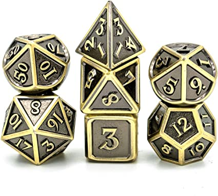 7 PCs DND Dice Polyhedral Dice Set with Dragon Font cusdie Metal Dice with Metal Box for Role Playing Game Dungeons and Dragons D/&D Dice MTG Pathfinder Math Teaching
