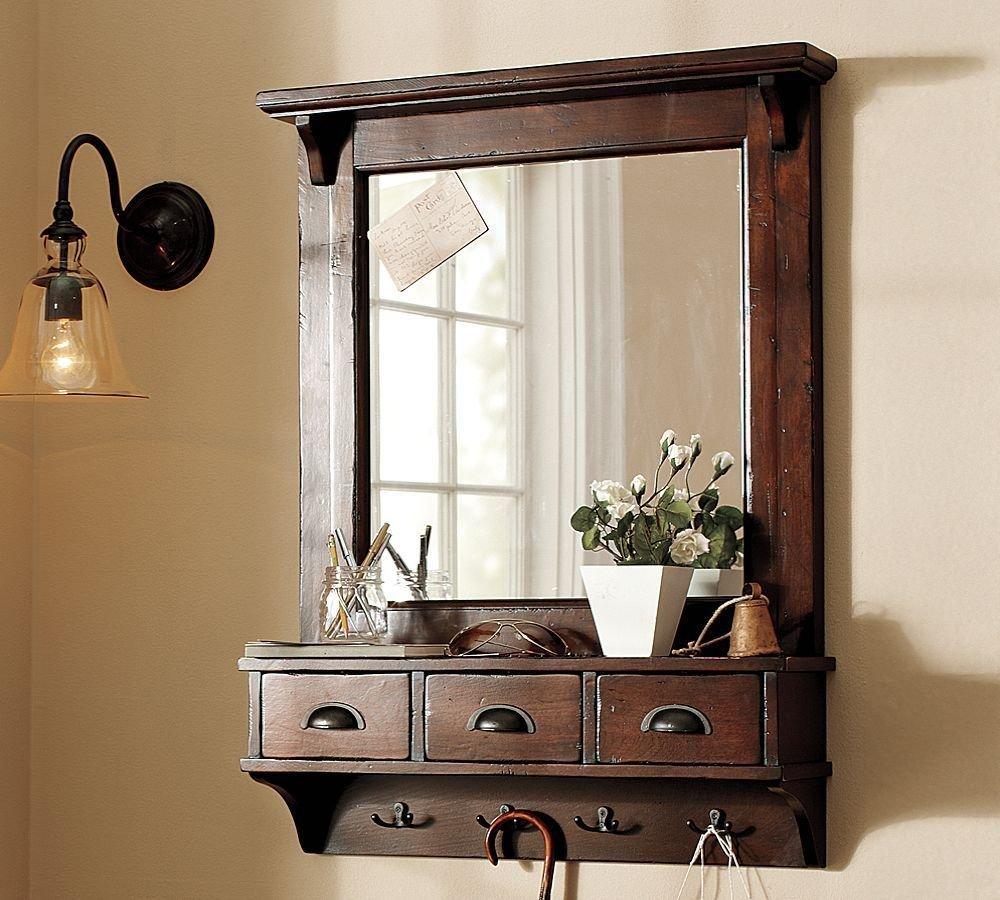 LifeEstyle Dressing Mirror With Hooks And 3 Storage Drawers Bathroom ShelfDark Walnut Amazonin Electronics