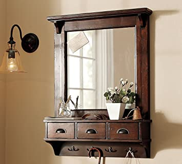 LifeEstyle Dressing Mirror with Hooks and 3 Storage Drawers(Brown)